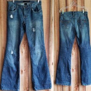Calvin Klein Slim Flare Distressed Jeans